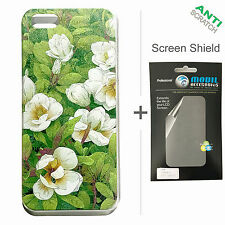 BACK+FACE Magnolia Hard Plastic Case + Screen Protector for Apple iPhone 5 5S