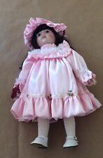 Flower Girl Porcelain Doll Pink Dress And Hat 15� Vintage