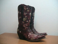 Womens 8.5 B Lucchese Burgundy Embroided Leather Western Cowboy Boots