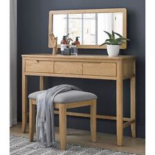 Moreton Oak Bedroom Furniture Dressing Table With Mirror and Stool Set