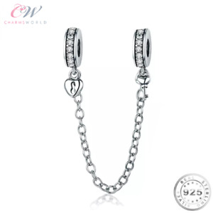 Key & Heart Safety Chain Genuine 925 Sterling Silver For Charm Bracelet 💞