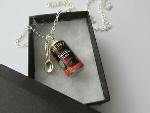 Handmade Fun Jewellery - Tomato Soup Can and Spoon - Chain Necklace - Gift Idea