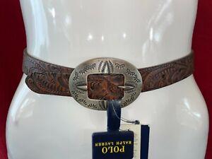 BNWT Ralph Lauren, Dark Brown, 100% Cow Leather Patterned Belt. Size 24
