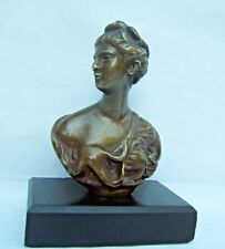 ancien petit bronze buste de femme porte des lettres et des numéros Napoléon III