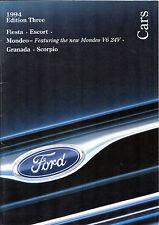 Ford Cars 1994 EDITION 3 UK Market sales brochure Fiesta Escort Mondeo Granada