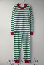HANNA ANDERSSON Organic Long Johns Pajamas Green White Merry Stripe 150 12 NWT