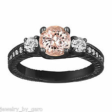 PEACH MORGANITE & DIAMOND ENGAGEMENT RING VINTAGE STYLE 14K BLACK GOLD ENGRAVED