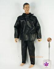 1:6 Action Figure Military Pilot Black Leather Jacket UNIFORM Suit DA182