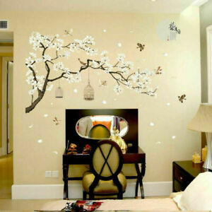 White Blossom Tree Branch Wall Art Stickers Cherry Blossom Decals Mural Decor UK
