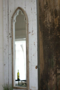 Rustic Country Long Narrow Distressed Wooden Arched Top Hallway Wall Mirror