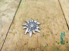 Edelweiss Metal Made For Riveting Collectible Floral Vintage Button Switzerland