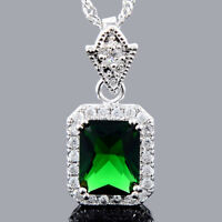 Xmas Brass Pendant Square Green Emerald 18K White Gold Plated CZ Necklace Chain