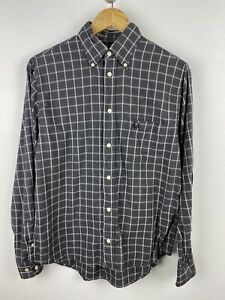 Fred Perry Mens Shirt Size S Long Sleeve Button Up Regular Grey White Check