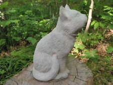 """Cement 9"""" Star Moon Gazing Kitten Cat Garden Art Statue Concrete"""