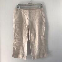 J. Jill 100% Linen Capri Pants Women's 10 Petite Oatmeal Color Pockets Elastic
