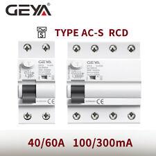 Geya Ac-S Type Elcb Circuit Breaker Rcd Rccb 2P 4P 40/63A 100/300mA 10kA Din Rai