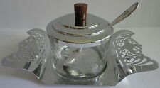 Farber Brothers Mayonnaisse Etched Glass Jar Pierced Chrome Tray Bakelite Handle
