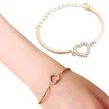 Moda Donne Oro Strass infinit oamore cuore catena braccialetto bracciale Bangle