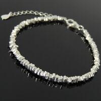 Men's Women Adjustable Bracelet 925 Sterling Silver Nugget Beads Clasp Link 1298