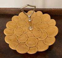 "Mid Century Modern USA 1A3 Pottery Mustard Yellow Tidbit Plate Dish 9"" diameter."