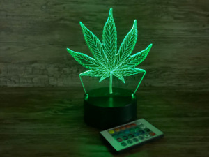 Weed 3D Night Lamp, Remote Control and Free Shipping
