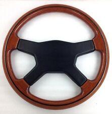Genuine Raid wood rim 350mm steering wheel with black leather horn pad   7D