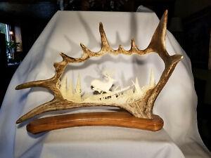 "Moose Antler Carving - Original Inuit Carving from Alaska 21""w x 15.5"" x 10"" d"