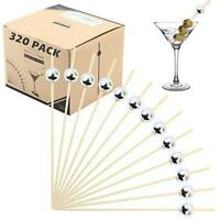 Bamboo Cocktail Picks Skewers Toothpicks - 320 Pack Silver Pearl 4.75 inch Woode