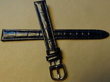 New 12mm Genuine Leather Dark Blue Crocodile Grain Watch Band Silver Tone Buckle