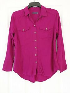 Ladies Marks and Spencers Fitted Shirt Blouse Size 8 Long Sleeves Purple