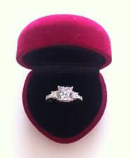 C Zirconia 925 Sterling Silver Ring Bridal Engagement Velvet Love Heart Ring Box