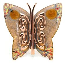 VTG MATISSE RENOIR Signed Yellow Peach Enamel Copper Butterfly Brooch Pin