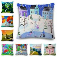 Oil painting Cotton Linen Fashion Throw Pillow Case Cushion Cover Home Decor