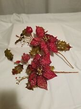 Apple Pomagrante Berry Fruit Swag - Home Interior Decor Poinsettia Red Gold - 2