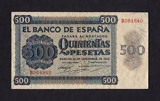 F.C. 500 PESETAS 1936 , SERIE B , EBC- , CON TODO SU APRESTO , 2 DOBLECES VERTIC