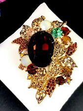 STRIKING GOLD-TONE MULTICOLOR TOPAZ RHINESTONE FLORAL STATEMENT BROOCH PENDANT