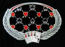 THE FOUR ACES OF THE SUITS WITH LAURELS GAMBLING BELT BUCKLE