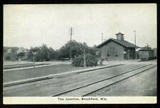1915 The Junction Brookfield Wisconsin Railway Railroad Train Depot Postcard