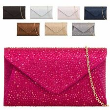 Ladies Rain Drop Gem Envelope Clutch Bag Glitter Evening Bag Party Handbag KL759