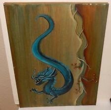 BLUE DRAGON ORIGINAL OIL ON CANVAS PAINTING UNSIGNED