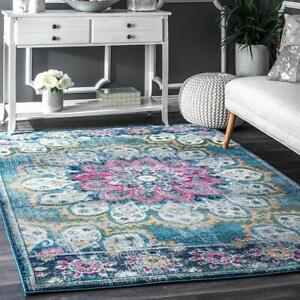 Polyester Living Dining Bed Drawing Room Rug Carpet 4' x 6' Anti Slip Backing