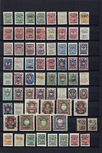 RUSSIA CIVIL WAR 1920-1921 WRANGEL ARMY IN EXIL 215 STAMPS VARIETIES !