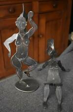 WONDERFUL OOAK PAIR OF FROLICKING NUDE WOMEN IN IRON WITH GRAPHITE ACCENTS
