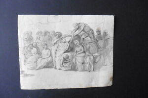 FRENCH SCHOOL 18thC - MARKET SCENE - FINE ROCOCO INK DRAWING CIRCLE GREUZE