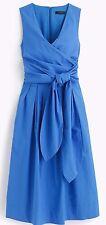 JCREW Wrap Dress in Cotton Poplin 12 Sundrenched pool blue $138 #f2303 NWT