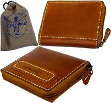 CHIEMSEE Reißverschluss Herren Geldbörse Vintage Braun Geldbeutel Brieftasche