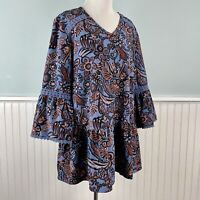 Size Large L D & Co Ruffled Paisley Boho Chic Lace Trim Peasant Top Shirt Blouse