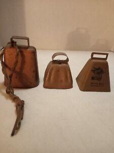 3 Vintage CopperTone Cow Bells