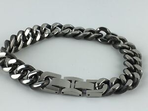 """NEW Curb Chain Mens Bracelet 11mm Cuban 9"""" Silver Stainless Steel Antiqued"""