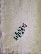 Keep Calm and Serve an Ace Tennis Jacquard Cotton Woven Embroidered Blanket NEW
